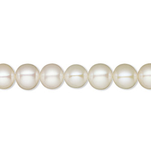 pearl, white lotus™, cultured freshwater (bleached), white, 7-7.5mm semi-round, b+ grade, mohs hardness 2-1/2 to 4. sold per 16-inch strand.