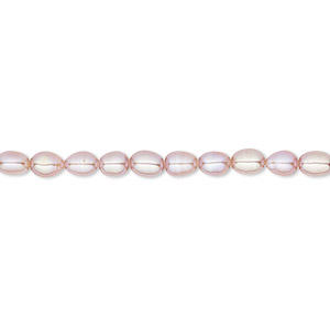 pearl, white lotus™, cultured freshwater, mauve, 3.8-4mm rice, b grade, mohs hardness 2-1/2 to 4. sold per 16-inch strand.