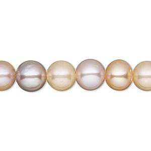 pearl, white lotus™, cultured freshwater, peach and mauve, 8.5-9.5mm semi-round with 1.7mm hole, b- grade, mohs hardness 2-1/2 to 4. sold per 16-inch strand.