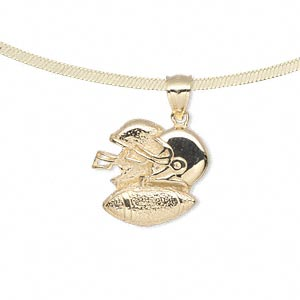pendant, 14kt gold, 17x17mm single-sided with american football and two helmets. sold individually.