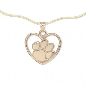 pendant, 14kt gold, 18x17mm single-sided clemson univeristy tiger paw print in heart, smooth back. sold individually.