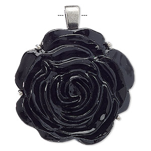 pendant, acrylic and antiqued nickel-finished pewter (zinc-based alloy), black, 51x49mm rose. sold individually.