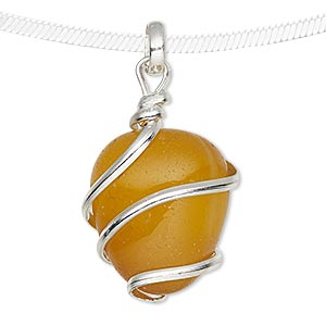 pendant, agate (dyed) and silver-plated brass, yellow, medium to large hand-cut wire-wrapped tumbled nugget. sold individually.