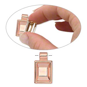 pendant, almost instant jewelry, copper-plated pewter (zinc-based alloy), 24x14mm single-sided rectangle with 14x10mm rectangle setting and tube bail. sold individually.
