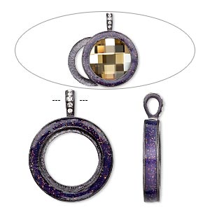 pendant, almost instant jewelry, epoxy / swarovski crystals / gunmetal-finished pewter (zinc-based alloy), amethyst purple and crystal clear with glitter, 45x35mm single-sided with 30mm round setting. sold individually.