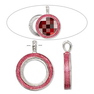 pendant, almost instant jewelry, epoxy / swarovski crystals / imitation rhodium-finished pewter (zinc-based alloy), rose pink and crystal clear with glitter, 45x35mm single-sided with 30mm round setting. sold individually.