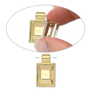 pendant, almost instant jewelry, gold-plated pewter (zinc-based alloy), 24x14mm single-sided rectangle with 14x10mm rectangle setting and tube bail. sold individually.