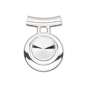 pendant, almost instant jewelry, silver-plated pewter (zinc-based alloy), 28x20mm single-sided round go-go with ss47 rivoli setting and tube bail. sold individually.