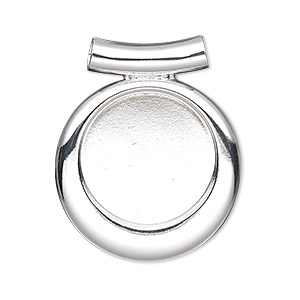 pendant, almost instant jewelry, silver-plated pewter (zinc-based alloy), 33x28mm single-sided fancy round with 20mm round setting and tube bail. sold individually.