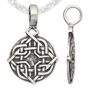 pendant, almost jewelry™, antique pewter (tin-based alloy), 39x25mm round with celtic knot and 4mm round setting. sold individually.