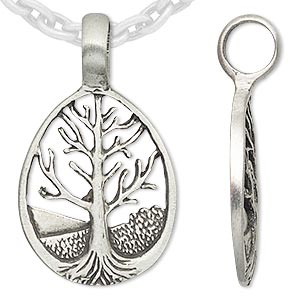 pendant, almost jewelry™, antiqued pewter (tin-based alloy), 40x24mm teardrop with tree of life. sold individually.