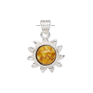 pendant, amber (assembled) and sterling silver, 27x19mm sunflower with 10mm round. sold individually.