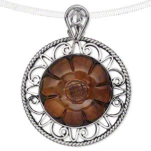 pendant, amber (heated) and antiqued sterling silver, 38mm filigree round with 25mm carved flower. sold individually.