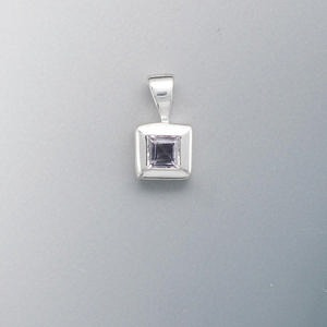 pendant, amethyst (natural) and sterling silver, 12x7mm with 4x4mm faceted square. sold individually.