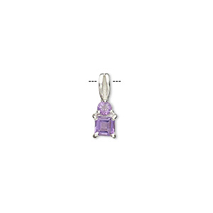 pendant, amethyst (natural) and sterling silver, 14x5mm with 2mm faceted round and 3.5x3.5mm faceted square. sold individually.