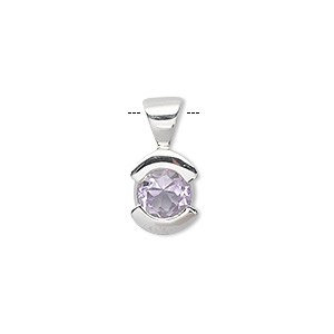 pendant, amethyst (natural) and sterling silver, 18x9mm fancy round and 8mm faceted round. sold individually.