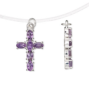 pendant, amethyst (natural) and sterling silver, 21x14mm cross with 5x4mm faceted oval. sold individually.