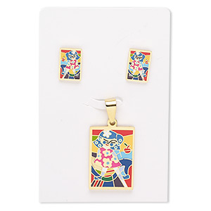 pendant and earring, enamel and gold-finished stainless steel, multicolored, 30x21mm rectangle with girl design, 15x10mm rectangle with post. sold per set.