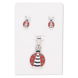 pendant and earring, enamel and stainless steel, red / black / white, 27x20mm ladybug, 15x9mm ladybug with post. sold per set.