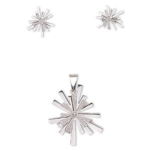 pendant and earring, stainless steel, 36x24mm stardust sparkle, 18mm earrings with post. sold per set.