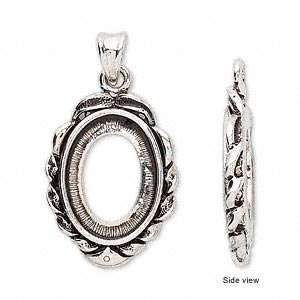 pendant, antique silver-plated brass, 36x19mm with 18x13mm oval setting. sold per pkg of 2.