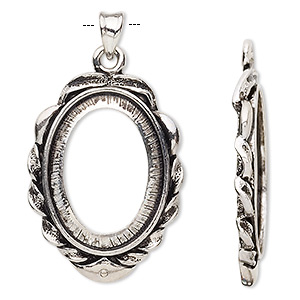 pendant, antique silver-plated brass, 43x25mm oval with 25x18mm oval setting. sold per pkg of 2.