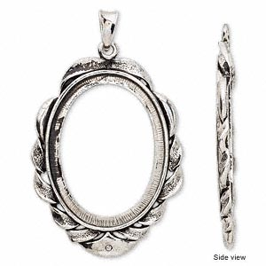 pendant, antique silver-plated brass, 66x40mm oval with 40x30mm oval setting. sold per of 2.