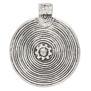 pendant, antiqued aluminum, 50mm flat round with spiral design. sold individually.