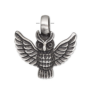 pendant, antiqued pewter (tin-based alloy), 32x31mm single-sided owl. sold individually.