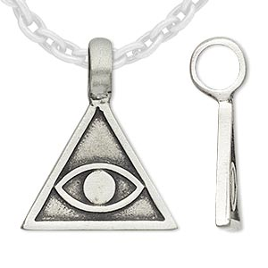 pendant, antiqued pewter (tin-based alloy), 32x32x26mm triangle with eye. sold individually.