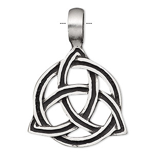 pendant, antiqued pewter (tin-based alloy), 40x29mm single-sided celtic knot. sold individually.