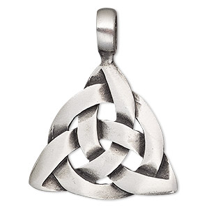 pendant, antiqued pewter (tin-based alloy), 41x32mm double-sided celtic knot triangle. sold individually.