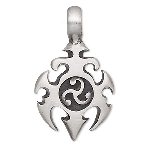 pendant, antiqued pewter (tin-based alloy), 44x26mm single-sided with triskele. sold individually.
