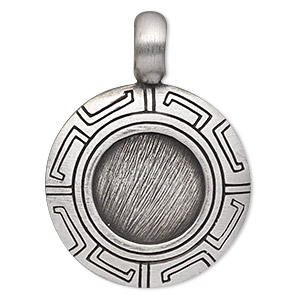 pendant, antiqued pewter (tin-based alloy), 44x32mm round with greek key design and 17mm round setting. sold individually.