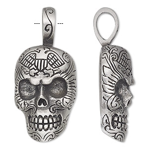 pendant, antiqued pewter (tin-based alloy), 46x21mm single-sided skull with eagle. sold individually.