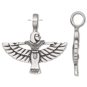 pendant, antiqued pewter (tin-based alloy), 48x44mm single-sided egyptian goddess isis. sold individually.