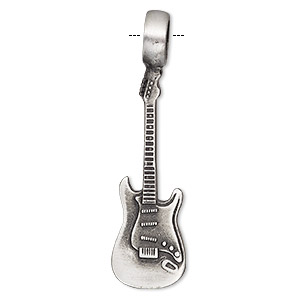 pendant, antiqued pewter (tin-based alloy), 51x14mm single-sided guitar. sold individually.
