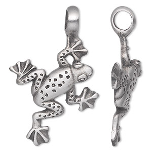 pendant, antiqued pewter (tin-based alloy), 53x35mm single-sided frog. sold individually.