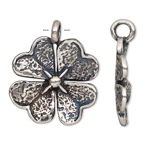 pendant, antiqued silver-plated pewter (tin-based alloy), 31.5x26mm single-sided 4-leaf clover. sold individually.