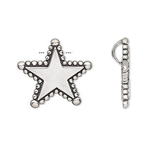 pendant, antiqued sterling silver, 22x21mm single-sided star with beaded edge and hidden bail. sold individually.