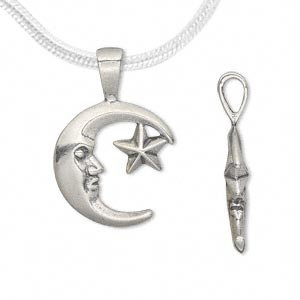 pendant, antiqued sterling silver, 26x16.5mm double-sided moon face with star. sold individually.