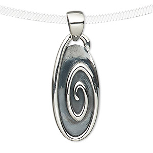 pendant, antiqued sterling silver, 30x14mm oval with spiral design. sold individually.