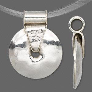 pendant, antiqued sterling silver, 39mm smooth disc with tube bail. sold individually.