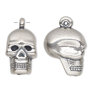 pendant, antiqued sterling silver, electroformed, 31.5x20mm skull. sold individually.