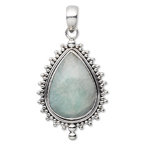 pendant, aquamarine (heated) and antiqued sterling silver, 40x26mm beaded teardrop with 25x18mm teardrop. sold individually.