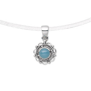 pendant, blue chalcedony (dyed) and antiqued sterling silver, 22x13mm fancy round with 6mm round. sold individually.