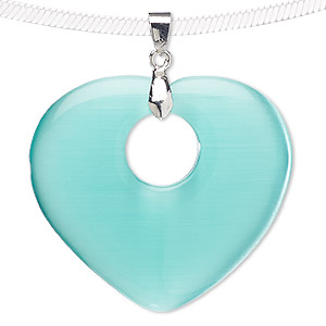 pendant, blue moon beads, cats eye glass and silver-finished pewter (zinc-based alloy), teal, 44x40mm-45x41mm heart with cutout circle. sold individually.