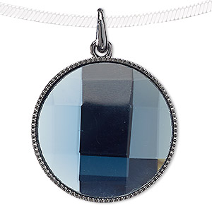 pendant, blue moon beads, glass and gunmetal-finished pewter (zinc-based alloy), light blue, 38mm flat round. sold individually.