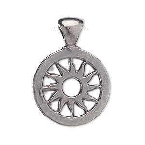 pendant, blue moon beads, gunmetal-finished pewter (zinc-based alloy), 25mm flat round with sun design. sold per pkg of 4 pendants.