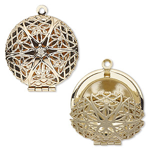 pendant cage, gold-finished brass, 28mm single-sided hinged round with cutout flower. sold individually.